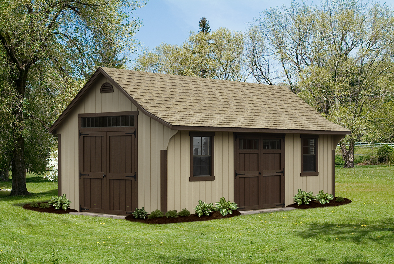 Elite Cape 12 X 20 Buckskin T 111 Light Brown Shingles Dark Trim And Doors