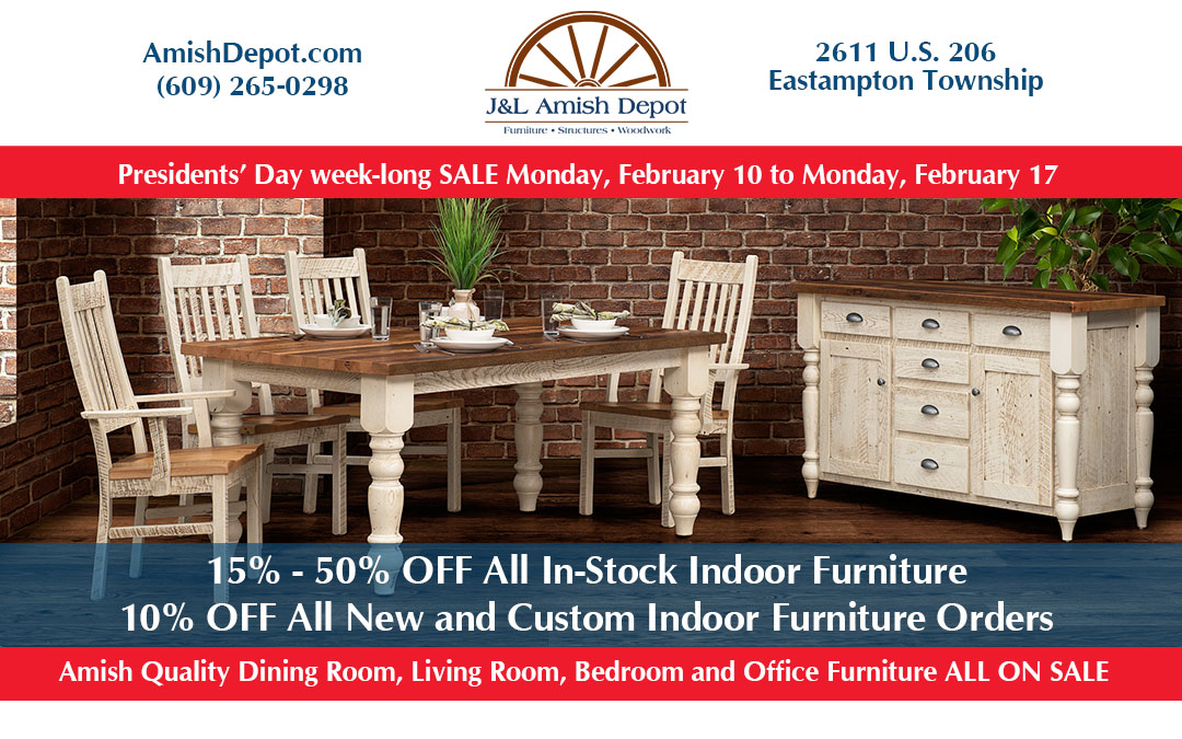 Presidents' Day Week-Long Indoor Furniture Sale February 10-17